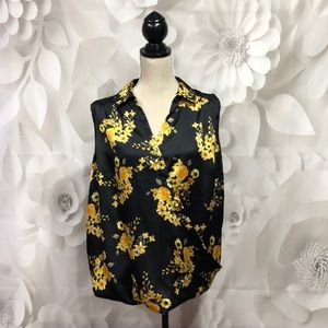 INC Black Yellow Floral Sleeveless Blouse 1X